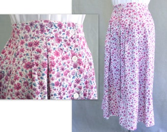 Pink Corduroy Skirt, Vintage Purple and Pink Flowered Midi Skirt, Fits Size 6, Small
