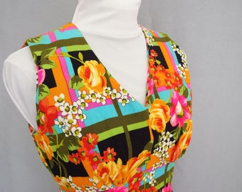 Vintage 1970s Psychedelic Flowers Barkcloth Dress - Fits Size 4, Extra Small