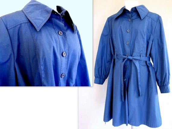 Blue Winter Coat, Vintage 1970's Lined Trench Coat