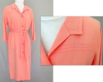 Coral Linen Shirtwaist Dress, Vintage Nelly Don Dress, Modern Size 6, Small