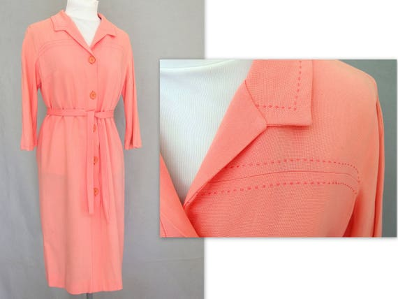 Coral Linen Shirtwaist Dress, Vintage Nelly Don Dr