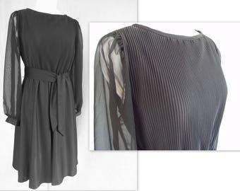 Black Chiffon Dress, Vintage 1970's Dress with Crystal Pleats and Full Circle Skirt, Modern Size 8, Medium