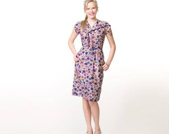 50s Blue & Purple Flower Cotton Sheath Dress with Tie Neckline XS