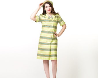 60s Mod Bright Light Green Striped Coat Dress by Joan Curtis S M