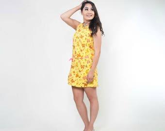 60s Yellow & Hot Pink Butterfly Print Culotte Shift Dress M