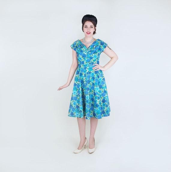 50s Blue Rose Print Cotton Full Skirt Dress M