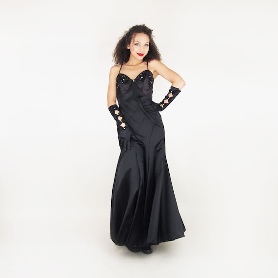 70s Black Satin Long Dress with 30s-style Seaming