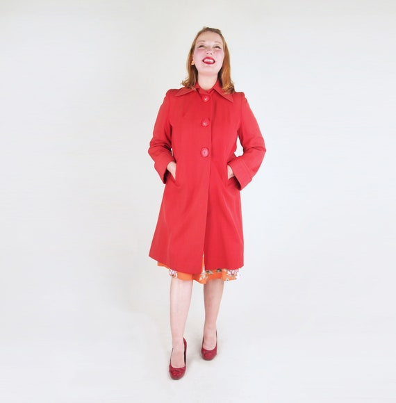 40s WWII-Era Red Gabardine Coat with Big Buttons M