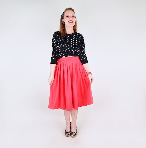 50s Coral Cotton Pleated Full Skirt Sears Kerrybro