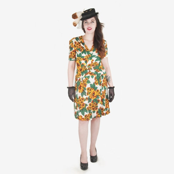 40s Yellow Flowered Rayon Jersey Knit Dress WWII-e