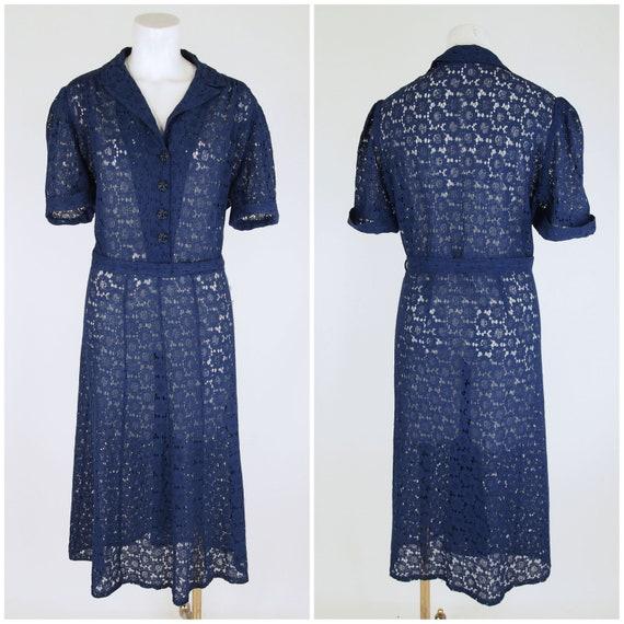 30s Navy Cotton Lace Depression Era Dress with Pu… - image 2