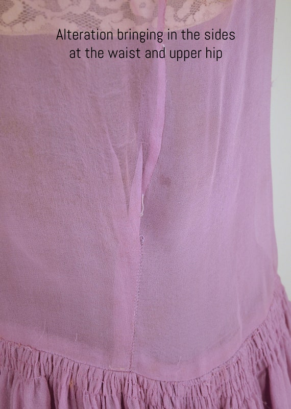 20s Lavender Silk Chiffon Dress with Slip and Sas… - image 8