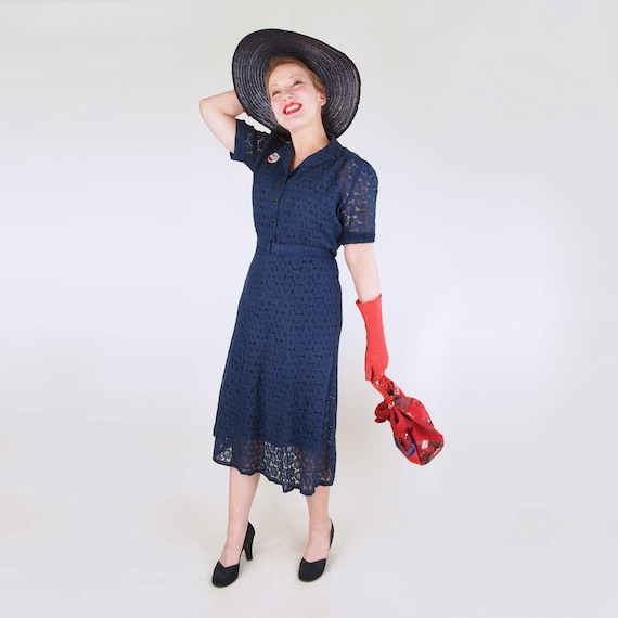 30s Navy Cotton Lace Depression Era Dress with Puf
