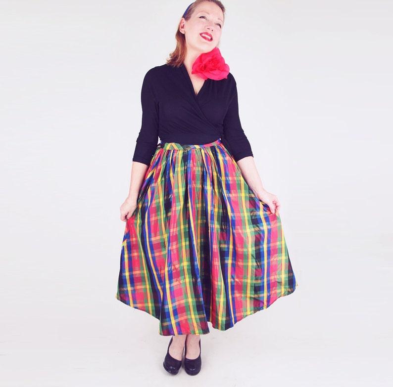 c01acad41 50s Iridescent Multi-color Plaid Taffeta Midi Full Skirt XS | Etsy