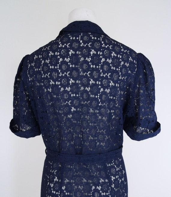 30s Navy Cotton Lace Depression Era Dress with Pu… - image 5