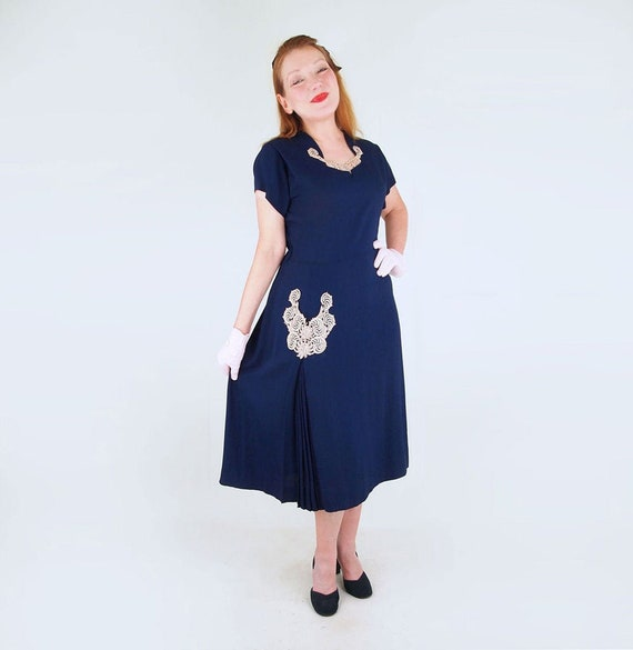40s 50s Navy Blue Rayon Dress with Lace, Fan of Pl