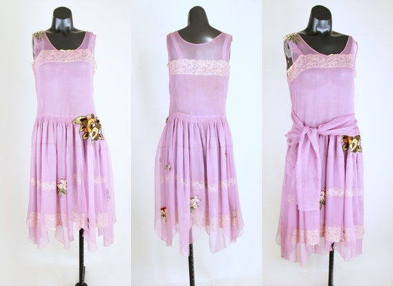 20s Lavender Silk Chiffon Dress with Slip and Sas… - image 3