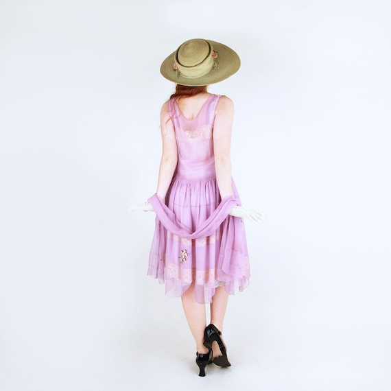 20s Lavender Silk Chiffon Dress with Slip and Sas… - image 2