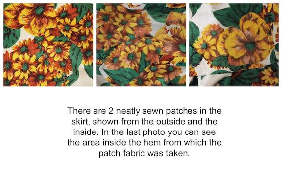 40s Yellow Flowered Rayon Jersey Knit Dress WWII-… - image 6