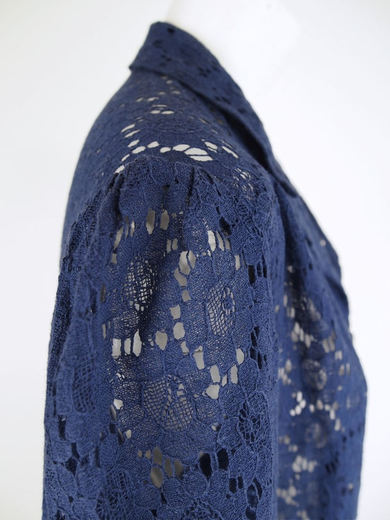 30s Navy Cotton Lace Depression Era Dress with Pu… - image 7