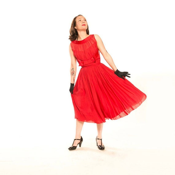 50s Red Chiffon and Satin Full Skirt Party Dress X