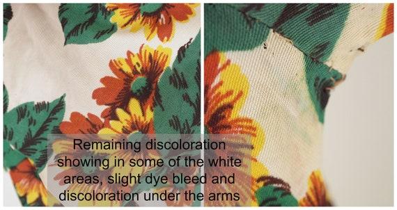 40s Yellow Flowered Rayon Jersey Knit Dress WWII-… - image 9