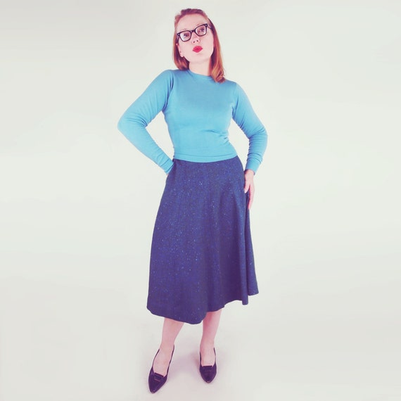 50s Green Blue Tweed Wool Skirt by Bill Atkinson 2