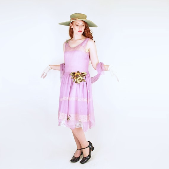 20s Lavender Silk Chiffon Dress with Slip and Sas… - image 1