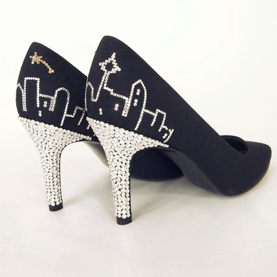 Vintage Seattle Skyline Rhinestone Pumps Shoes Stu