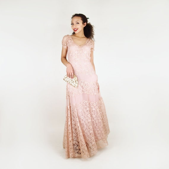 30s Peach Lace & Silk Chiffon Long Dress with Silk