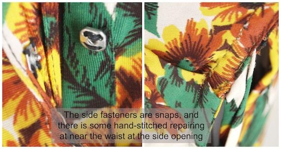40s Yellow Flowered Rayon Jersey Knit Dress WWII-… - image 8