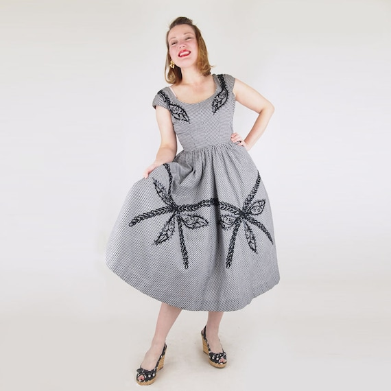 50s Black and White Gingham Check Full Skirt Dress