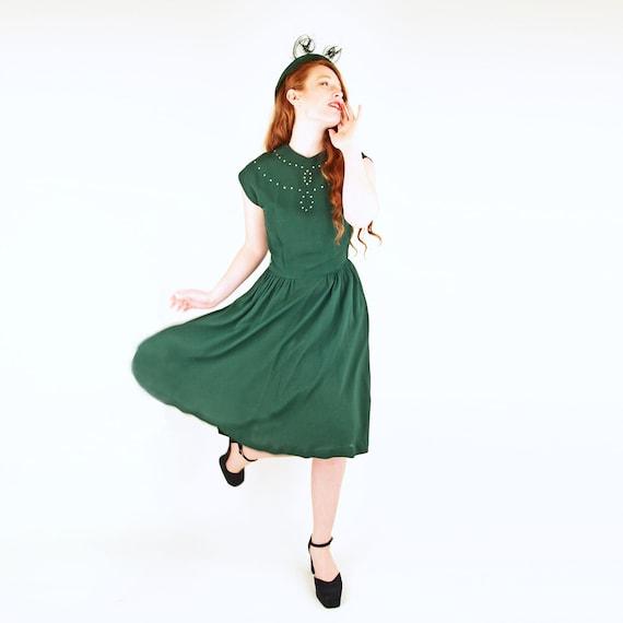 40s Dark Green Rayon Dress with Rhinestone Detail