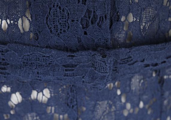30s Navy Cotton Lace Depression Era Dress with Pu… - image 8