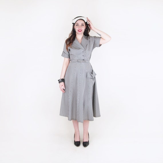 50s Black & White Gingham Taffeta Dress with Side