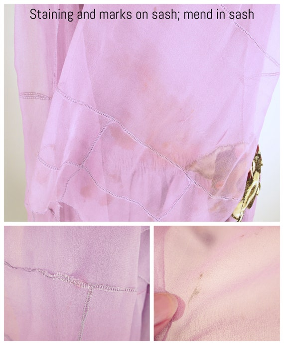 20s Lavender Silk Chiffon Dress with Slip and Sas… - image 10