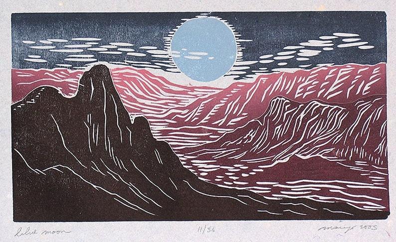 Blue Moon Color Puzzle Woodcut Southwest Landscape Purple image 0
