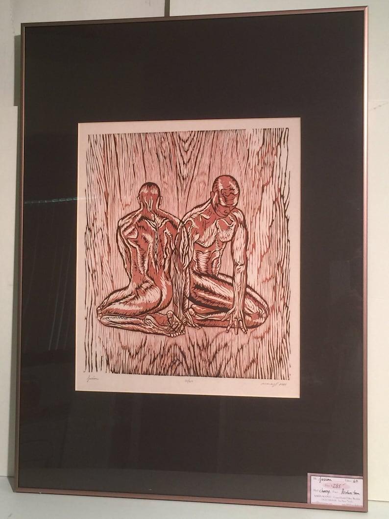 FRAMED Original Woodcut Print Earthtone Woodblock Male Man image 0