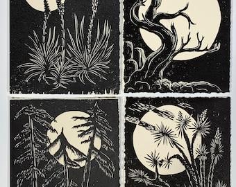 Moon SET Collection 4 Night Desert Tree Landscape Original Woodcuts