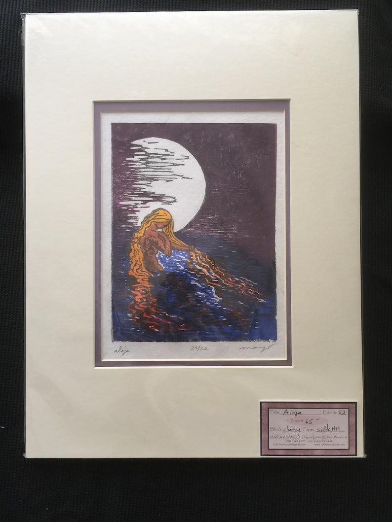 MATTED Ready to frame 12x16 Original Woodcut Aloja Water Woman image 0