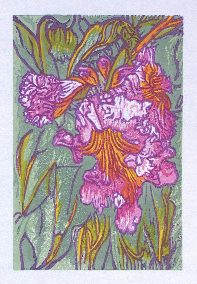 Original woodblock print pink purple green Mojave Willow image 0