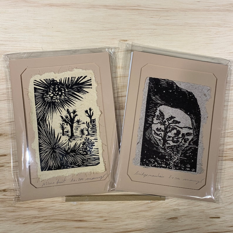 5x7 Original Woodcut Nature Print SET Joshua Flower Bridge Mountain Art Gift MAT or FRAMED