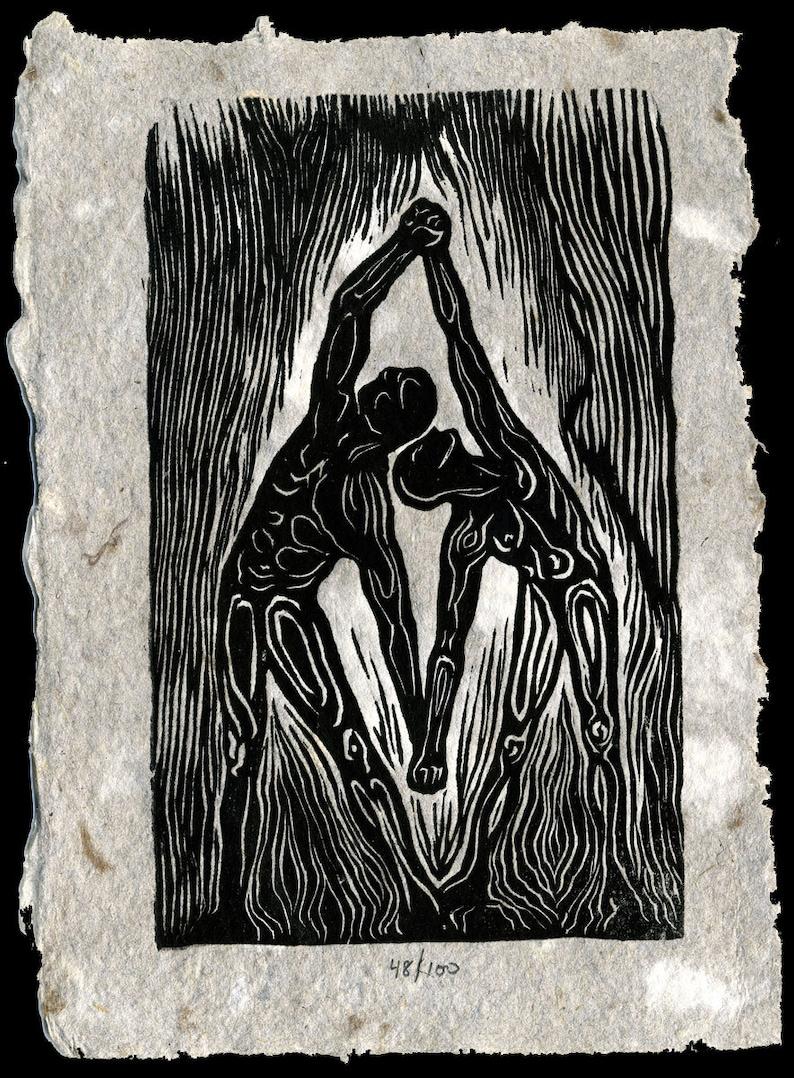 Original Woodcut Print Classic Partner Yoga Pose Unity Surreal image 0