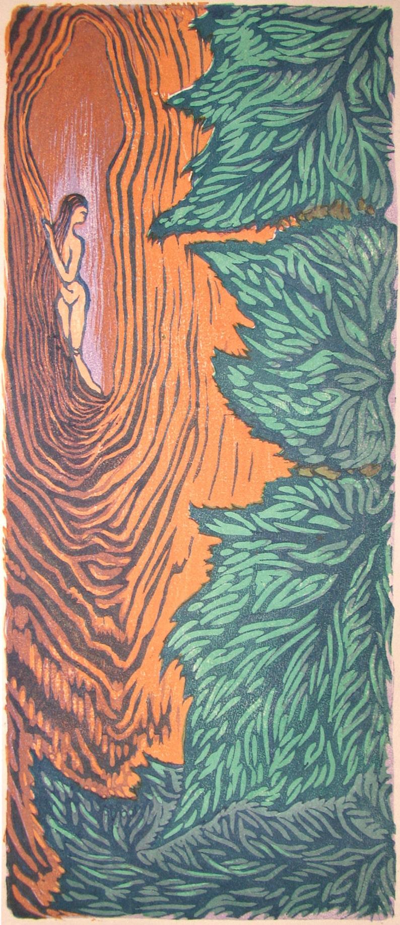 MATTED float 16x20 Original Japanese Woodblock Print Woman image 0