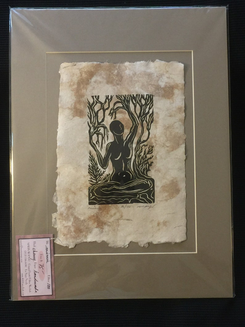MATTED 16X12 Original Woodcut Norse Godess Legend Mimir image 0