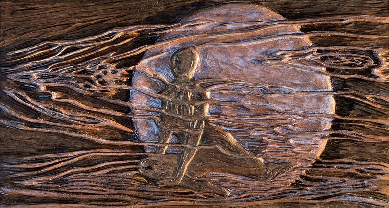 Moonshadow Original Woman in Night Moon Hand-carved Cherry image 0