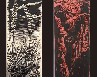 Woodcut Prints Agaves & Red Cliffs Set of 2 Southwest Landscape Woodblock on Handmade Paper