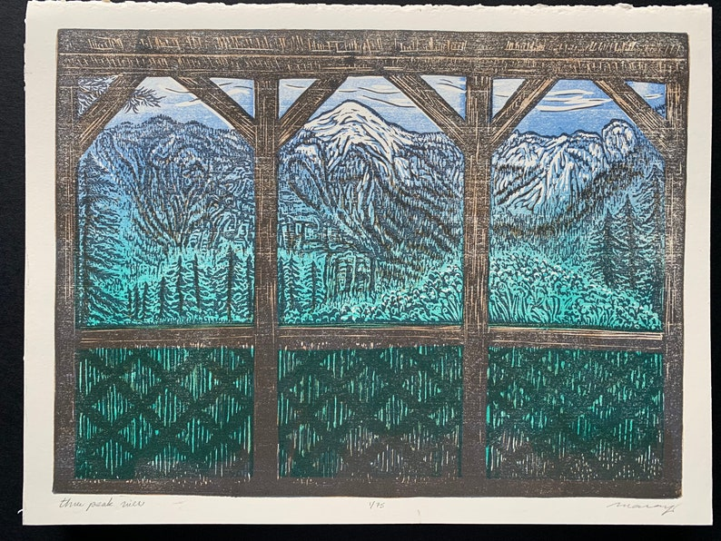 Three Peak View color woodcut mountain cabin porch relaxing image 0