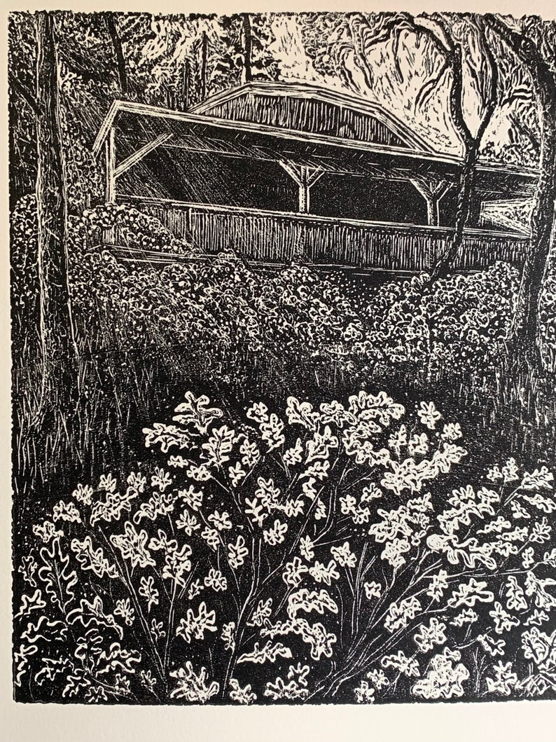 Hidden cabin in the woods with John Muir poem wood engraving image 0