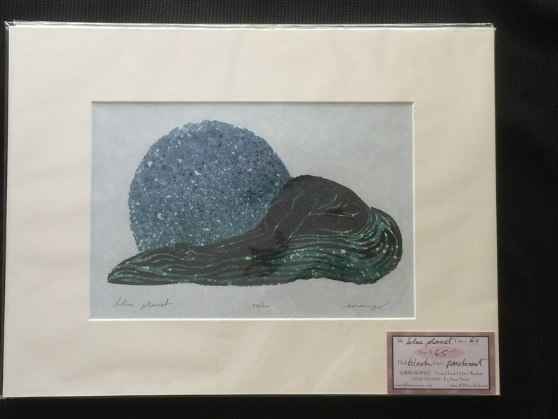 MATTED Ready to Frame 12x16 Blue Planet Original Color Woodcut image 0